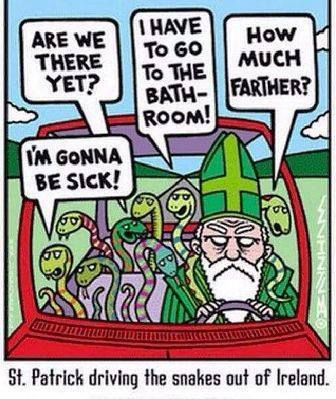 St. Patrick and Brit snakes cartoon