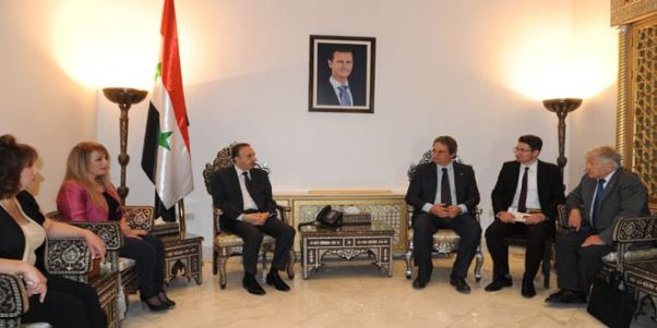 Syria Bob Udo and friends with Speaker of the People's Assembly Mohammad Jihad al-Lahham
