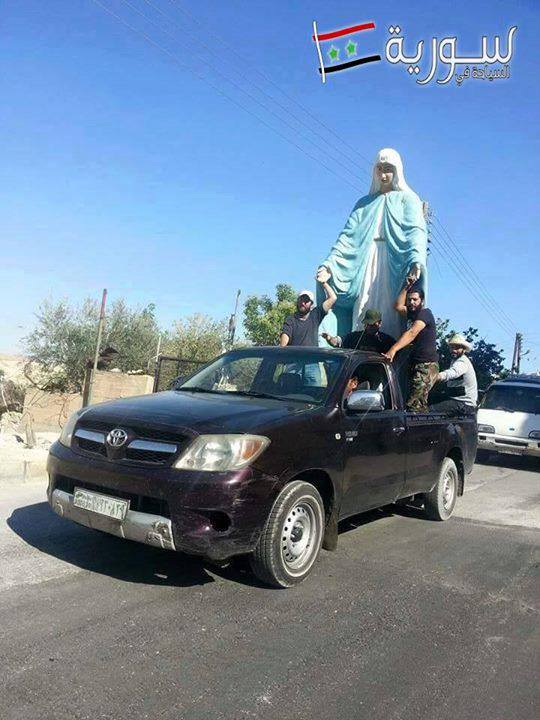 Syria Ma'loula new statue Our Lady delivered by SAA 2015